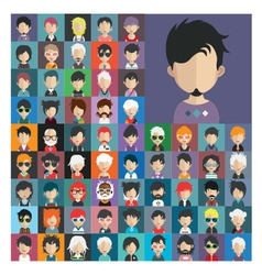 Set of people icons in flat style with faces 20 a vector