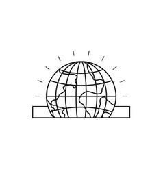 Silhouette closeup flat globe earth world vector