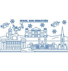 Spain san sebastian winter city skyline merry vector