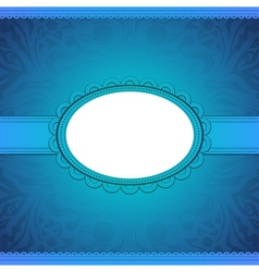 squared label on blue floral background vector image vector image
