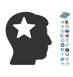 Star head icon with air drone tools bonus vector