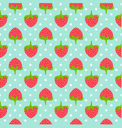 Strawberry seamless pattern whit polka dots vector