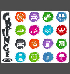 travel icons set in grunge style vector image vector image