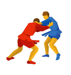 Two sambo fighters in blue and red martial arts vector