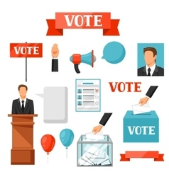 Vote political elections set of objects vector