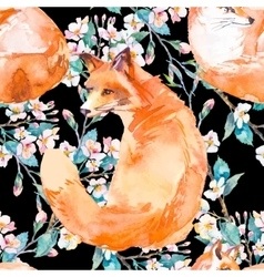 Wildlife pattern fox and flowering branches vector