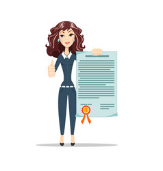 woman with a certificate vector image