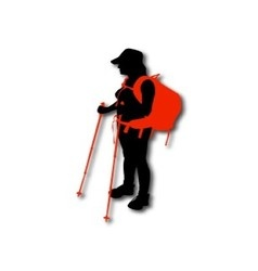 Silhouette of hiker with backpack and sticks vector