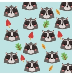 Raccoon cartoon icon woodland animal vector