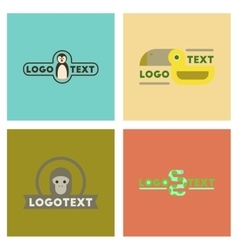 Assembly flat icons nature logo penguin snake vector