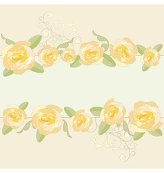 Yellow roses ornate frame background vector