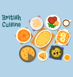 British cuisine lunch menu icon for food design vector