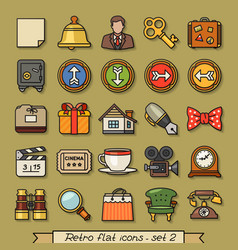 Retro flat line icons - set 2 vector