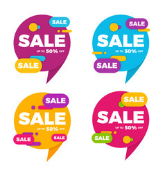 Collection of colorful speech bubble sale designs vector