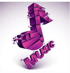 3d magenta demolished musical notes music word vector