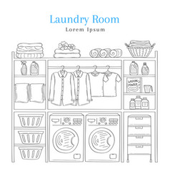 Laundry room interior with washing machine vector