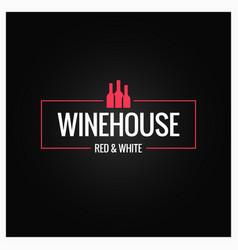 wine bottles logo design background vector image