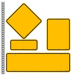 Yellow roadsigns set vector