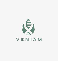 abstract bio tech leaf dna logo design green vector image