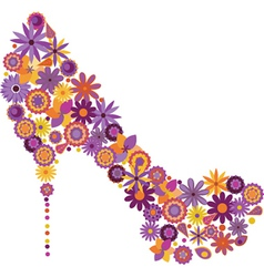 Shoe from flowers vector