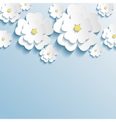 Stylish wallpaper with 3d flowers sakura blossom vector image
