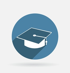 Graduate hat circle blue icon with shadow vector