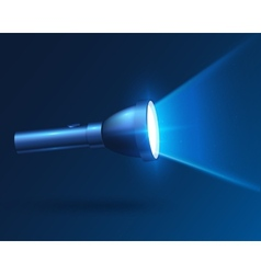 Blue realistic shining flashlight in darkness vector