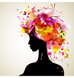 Artistic woman sillhouette design vector