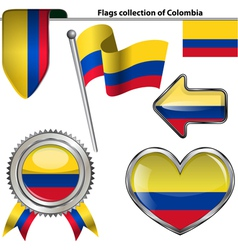 Glossy icons with colombia flag vector