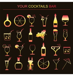 Alcohol drinks icons 16 flat icons set vector