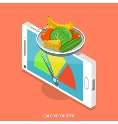 Calorie counter flat isometric concept vector