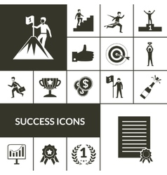 Success icons black set vector