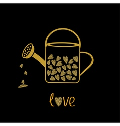 Love watering can with hearts inside gold sparkles vector