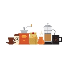 Coffee accessories set with cup vector