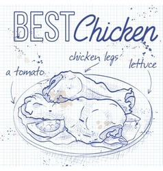 Chicken legs on a notebook page vector