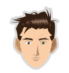 Face of young man with brown hair icon vector