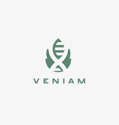 Abstract bio tech leaf dna logo design green vector