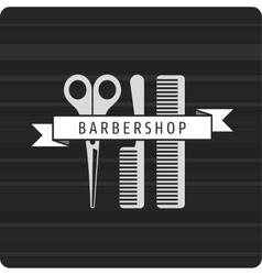 Barbershop logo scissors and two combs vector image