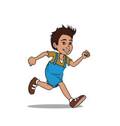 Boy running in overalls vector