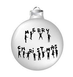 Christmas ball with kids silhouettes vector image vector image