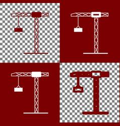 Construction crane sign bordo and white vector