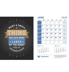 Desk calendar template for 2018 year june design vector
