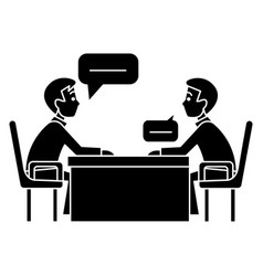 discussion two partners - interview - questioning vector image vector image