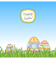 Easter grass eggs vector image vector image