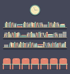 Flat Design Reading Seats and Bookshelves vector image