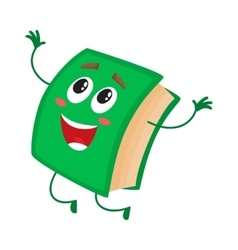Funny book character jumping happily celebrating vector