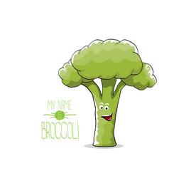 funny cartoon cute green broccoli character vector image