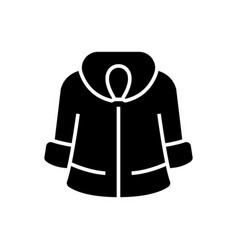 fur coat icon black sign on vector image vector image