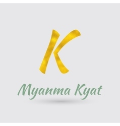 Golden Symbol of Myanma Kyat vector image vector image