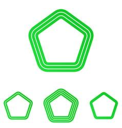 Green five corner logo design set vector